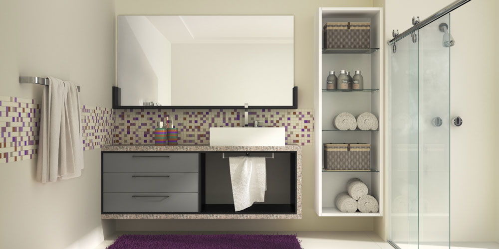 Banheiros ‹  Tenda Móveis -> Armario De Banheiro Branco E Preto